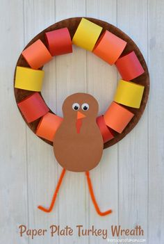 This Paper Plate Turkey Wreath is a fun kid craft and decoration for Thanksgiving. This Paper Plate Turkey Wreath is a fun kid craft and decoration for Thanksgiving. How cute will this be hanging in your house or classroom this Thanksgiving! Daycare Crafts, Sunday School Crafts, Preschool Crafts, Kids Crafts, Toddler Crafts, Craft Activities, Thanksgiving Art, Thanksgiving Preschool, Thanksgiving Crafts For Kids