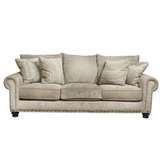 Main Living Room $799 -Transitional Styling -Generous accent pillows -Nail head decorative trim -Three leg front for frame stability -Touch of style -Made in the USA -Pleated Roll Arm -Attached back pillows B&P