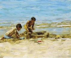 Τάνια Δημητρακοπούλου-Πύργοι στην άμμο. Seaside, Painting, Art, Art Background, Beach, Painting Art, Kunst, Paintings, Performing Arts
