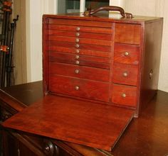 Antique Mahogany WATCH REPAIRMAN CASE MACHINIST CHEST JEWELRY CHEST  Portable