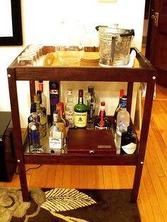 Bar cart made from an Ikea baby changing table! #sniglar #DIY