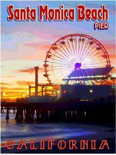 Santa Monica Beach Pier California United States Travel Advertisement Poster