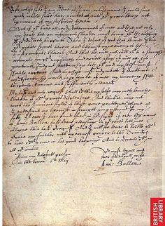 Carta de Ana Bolena a su aún esposo el Rey Enrique VIII
