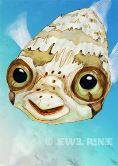 Puffer Fish Art 5x7 Print Balloon Fish Illustration by JewelRenee, $14.50