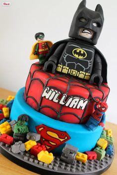 Amazing Lego birthday cake featuring Lego Batman, Lego Robin, Lego Spiderman, and Lego Hulk!