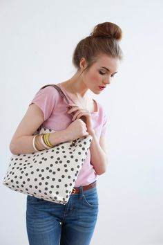 Charcoal Dots Tote Bag, Hand Printed Canvas.
