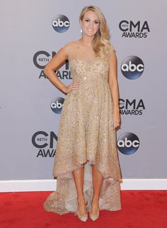 Pin for Later: Carrie Underwood Doesn't Like Wearing Maternity Clothes  While walking the red carpet at the 2014 CMA Awards, the singer sported an embellished Lorena Sarbu dress.