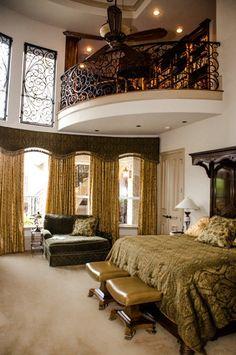 mediterranean bedroom with an indoor balcony - Bedroom Balcony Designs