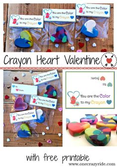 Crayon Heart Valentine and  Free Printable