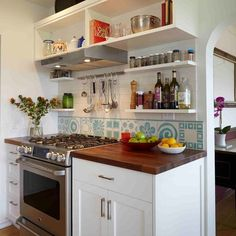 Open Shelves Above Stove Design Ideas, Pictures, Remodel and Decor