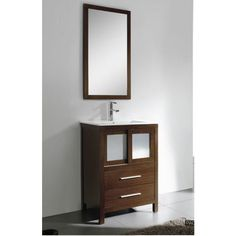 Fresca Decor Planet Exclusive Esterro Modern Bathroom Vanity with Mirror and Faucet Dark Wood Bathroom, Bathroom Vanity Units, Bathroom Furniture, Modern Bathroom, Master Bathroom, Decor Planet, Wood Framed Mirror, Small Rooms, Traditional Design