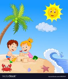 Children making sand castle at tropical beach vector image on VectorStock