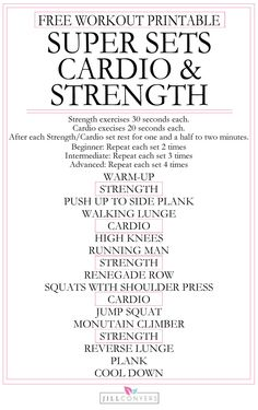 Super Sets Cardio and Strength Workout