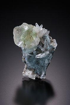 Fluorite, Dravite and Quartz - Hajikami Section, Obira Mine, Bungo-Ohno-shi, Oita pref. Japan Size: 3.0 x 2.0 x 1.6 cm