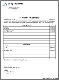 Salary Certificate Formats | 21+ Free Printable Word, Excel & PDF Templates, Forms, Samples