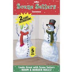 Scenesetter sneeuwpoppen -  Toch nog een witte kerst! Twee grote plastic posters bedrukt met een sneeuwpop. Als decoratie te gebruiken voor een sneeuwfeest. Afmeting: 85 x 165 cm.   www.feestartikelen.nl