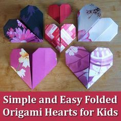 How kids (and adults) can make simple and easy origami paper folded hearts in…