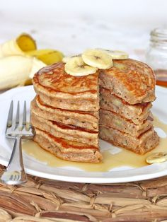 Moist and fluffy whole wheat banana pancakes make for a healthy breakfast and a great way to start the day!