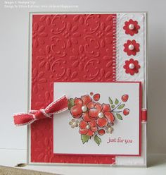 "handmade greeting card from Eileen's ""Stampin' Fever"" Blog ... like the use of embossing folder texture on background panels ... sweet posey with pearl centers ... Stampin'Up!"