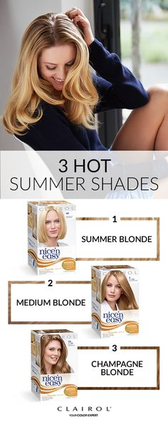 Reinvent your look for summer. With 56 shades, you're sure to find the Clairol nice'n easy that works for you – whether you want sandy blonde waves, golden red locks or a rich brunette that will easily transition to fall. Find your colour today.