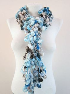 Hand crochet Long Scarf blue grey black white by scarfnurlu Neck Accessories, Winter Accessories, Pompom Scarf, Blue Grey, Black And White, Long Scarf, Hand Crochet, Womens Scarves, Blanco Y Negro