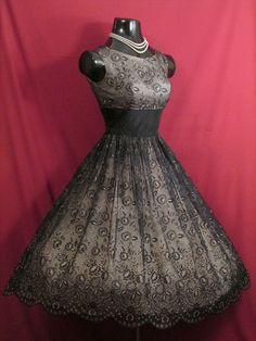 Vintage 50's 50s Black Pink Flocked Chiffon Organza Party
