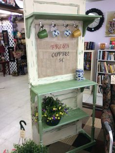 Coffee station made from old door and re-purposed wood and Baluster.  Project by…