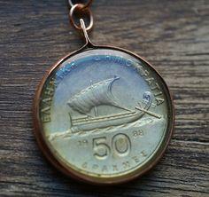 Greek 50 Drachma Coin Pendant. $19.00, via Etsy.  www.lorinda3ljewelry.etsy.com