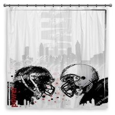 Transform Your Bathroom Into A Football Dream With Out Grunge Football  Shower Curtain Design At Http