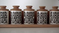 Mid Century Modern set of five Hornsea Pottery Scroll pattern black and white Spice Jars and shelf, John Clappison/ Gordon Hellewel design
