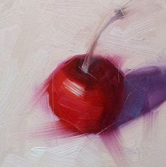 Small Oil Painting Cherry Daily Painting by CynthiaHaaseFineArt