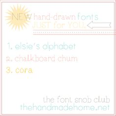 the font snob club : free fonts! | the handmade home