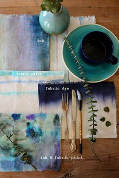 "3 ways to ""watercolor"" fabric napkins"