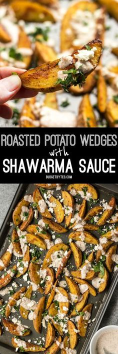 These simple Roasted Potato Wedges are the perfect vehicle for this creamy, garlicky shawarma sauce and crumbled feta.