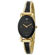 Anne Klein Women's 10-8286BKGB Diamond Accented Gold-Tone and Black Enamel Bangle Watch (Watch)