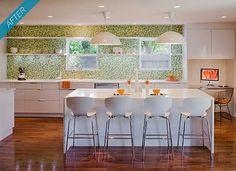 Green penny round tiles in the kitchen. #backsplash