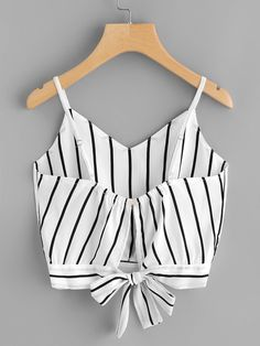 Shop Striped Split Tie Back Crop Cami Top online. SheIn offers Striped Split Tie Back Crop Cami Top & more to fit your fashionable needs. Cami Tops, Cami Crop Top, Moda Tween, Tween Mode, Tween Fashion, Fashion Outfits, Womens Fashion, Mode Ulzzang, Summer Outfits