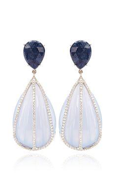 Blue Chalcedony And Blue Sapphire Earrings by Nina Runsdorf - Moda Operandi