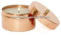 ROUND COPPER CANDLE CONTAINER WITH LID , CANDLE T-LIGHT COPPER CONTAINER