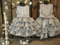 Silver flower girl dress. Grey girls ruffle dress. Winter wedding flower girl dress. special occasion. Toddler taffeta sequin party dress