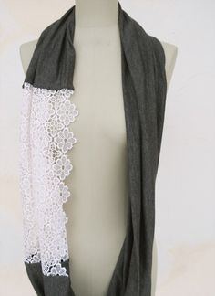 DIY Scarf; make your own scarf in 10 minutes frome an old T shirt and lace.