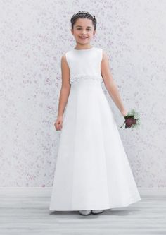 Emmerling First Holy Communion Dress 70158 - New 2016 - Classic White Satin A-line Communion Dress - Girls Communion Dress Shop, Ascot, Berkshire