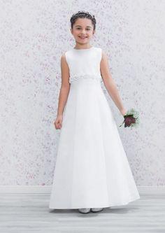 Emmerling First Holy Communion Dress 70158 - New 2016 - Classic White Satin A-line Communion Dress - Girls Communion Dress Shop, Ascot, Berkshire