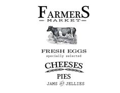 Farmers Market, cheeses, pies, awesome farm label all together