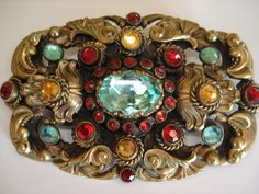 Antique Bohemian Crystal Glass Rhinestone Brass Filigree Brooch Costume Jewelry Rings, Vintage Costume Jewelry, Vintage Costumes, Vintage Jewelry, Jewelry Making, Jewelry Box, Glass Jewelry, Jewellery, Pirate Fashion