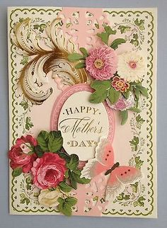 "ANNA GRIFFIN PAPERCRAFTS ""HAPPY MOTHER'S DAY"" HANDMADE BIRTHDAY GREETING CARD"