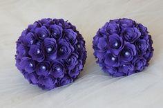 Set+2+Sfere+di+Rose+in+Cartoncino+Viola+e+Perle+di+PaperLoveFantasy+su+DaWanda.com