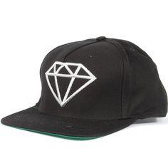 Diamond Rock Logo Snapback Hat (Black/Silver) $39.95