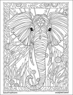 Jungle Portrait : The Art of Marjorie Sarnat : Elegant Elephants Coloring Book by Marjorie Sarnat
