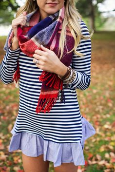 Fall 2015 outfit style. A stripe dress with a plaid scarf and Hunter Wellies Boots.